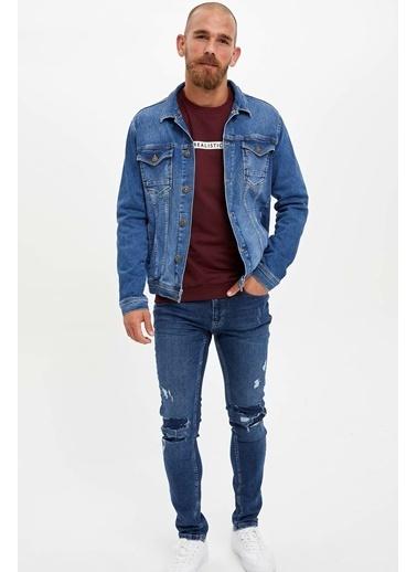 DeFacto Slim Fit Jean Ceket Mavi